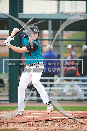Riley Fisher (16) of Highland High School in Hinckley, Ohio during the Under Armour All-American Pre-Season Tournament presented by Baseball Factory on January 14, 2017 at Sloan Park in Mesa, Arizona.  (Art Foxall/Mike Janes Photography)