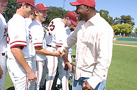 6 May 2006: Austin Yount (third from left) and Jeffrey Hammonds during Stanford's 5-1 loss against California Golden Bears at Sunken Diamond in Stanford, CA. Stanford Baseball announced its All-Time Starting 9 during a pre-game ceremony. The nine players selected for the team, chosen by the fans, represent the best of the first 30 years of the distinguished career of the head coach.