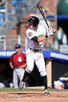Jamestown Jammers designated hitter Michael Fransoso (3) at bat during a game against the Mahoning Valley Scrappers on June 15, 2014 at Russell Diethrick Park in Jamestown, New York.  Jamestown defeated Mahoning Valley 9-4.  (Mike Janes/Four Seam Images)