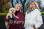Jessie the dog being taken for a walk in the Tralee town park on Sunday, l to r: Melanie Harty and Mary Gaine.