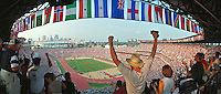 Atlanta Olympic Stadium - crowd cheering US victory in the Women's relay. Atlanta Georgia United States Olympic Stadium.