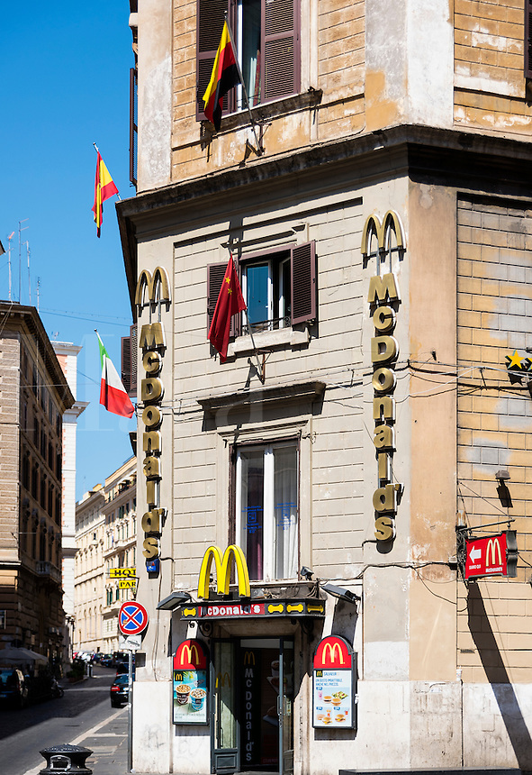 "McDonald""s fast food restaurant, Rome, Italy, Europe"