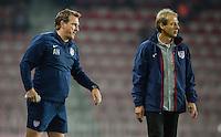 PRAGUE, Czech Republic - September 3, 2014: USA's coach Jurgen Klinsmann and assistant coach Andreas Herzog during the international friendly match between the Czech Republic and the USA at Generali Arena.