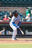 Surprise Saguaros designated hitter Vladimir Guerrero Jr. (27), of the Toronto Blue Jays organization, starts down the first base line during an Arizona Fall League game against the Scottsdale Scorpions at Scottsdale Stadium on October 26, 2018 in Scottsdale, Arizona. Surprise defeated Scottsdale 3-1. (Zachary Lucy/Four Seam Images)