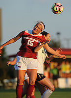 NWA Democrat-Gazette/ANDY SHUPE<br /> Arkansas' Jessi Hartzler (15) and Vanderbilt's Lydia Simmons vie for the ball Thursday, Oct. 6, 2016, during the first half of play at Razorback Field in Fayetteville. Visit nwadg.com/photos to see more photographs from the game.