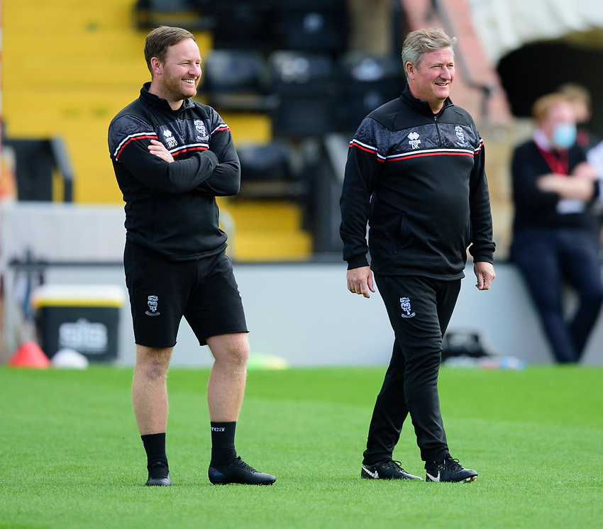 Lincoln City's first team development coach Richard O'Donnell, left, and Lincoln City's assistant manager David Kerslake during the pre-match warm-up<br /> <br /> Photographer Andrew Vaughan/CameraSport<br /> <br /> The EFL Sky Bet League One - Saturday 12th September  2020 - Lincoln City v Oxford United - LNER Stadium - Lincoln<br /> <br /> World Copyright © 2020 CameraSport. All rights reserved. 43 Linden Ave. Countesthorpe. Leicester. England. LE8 5PG - Tel: +44 (0) 116 277 4147 - admin@camerasport.com - www.camerasport.com - Lincoln City v Oxford United