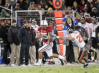 STANFORD, CA-NOVEMBER 27, 2010- Tyler Gaffney (#25)  completes a pass for 52 yards during Stanford's 38-0 victory over Oregon St., Saturday, November 27, 2010.