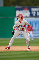 Auburn Doubledays Jake Randa (16) leads off second base during a NY-Penn League game against the Batavia Muckdogs on September 1, 2019 at Dwyer Stadium in Batavia, New York.  Auburn defeated Batavia 3-1.  (Mike Janes/Four Seam Images)