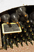 Bottles aging in the cellar. Coume Gineste in large bottle sizes. Domaine Gauby, Calces, roussillon, France