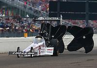 Aug 17, 2014; Brainerd, MN, USA; NHRA top fuel dragster driver Morgan Lucas during the Lucas Oil Nationals at Brainerd International Raceway. Mandatory Credit: Mark J. Rebilas-