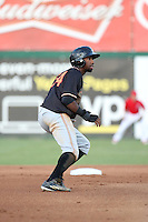 Wes Rogers (24) of the Modesto Nuts runs the bases during a game against the Inland Empire 66ers at San Manuel Stadium on May 20, 2016 in San Bernardino, California. Inland Empire defeated Modesto, 4-2. (Larry Goren/Four Seam Images)