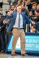 WASHINGTON, DC - JANUARY 5: St. Bonaventure coach Mark Schmidt reacts to a play during a game between St. Bonaventure University and George Washington University at Charles E Smith Center on January 5, 2020 in Washington, DC.