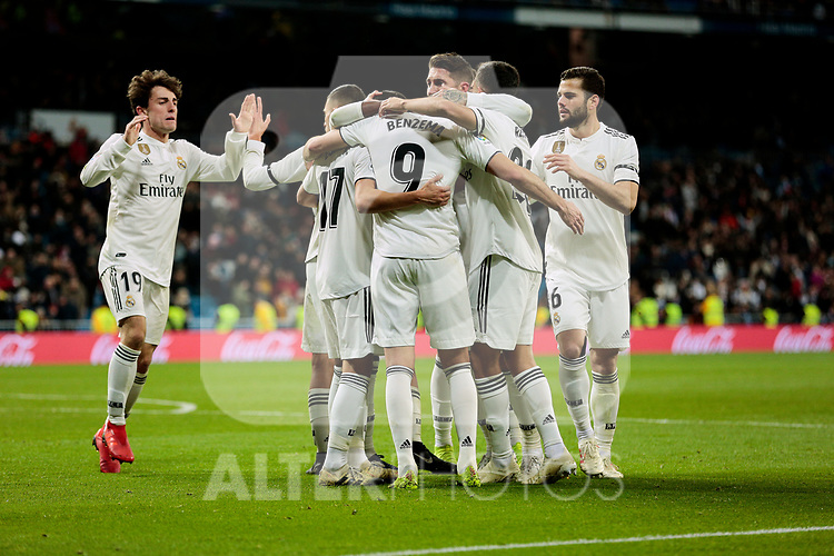 Real Madrid's players celebrate goal during Copa Del Rey match between Real Madrid and CD Leganes at Santiago Bernabeu Stadium in Madrid, Spain. January 09, 2019. (ALTERPHOTOS/A. Perez Meca)