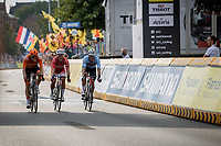 Sprint for silver and bronze medal. Dylan Van Baarle (NED/Ineos Grenadiers) takes 2nd place,  Michael Valgren (DEN/EF Education Nippo) 3th and Jasper Stuyven (BEL/Trek Segafredo) takes the unpalatable 4th place<br /> <br /> <br /> Men Elite – Road Race (WC)<br /> Race from Antwerp to Leuven (268.3km)<br /> <br /> ©kramon