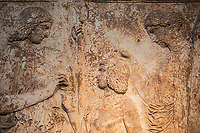 Athens , archeological museum Votif relief Dedivated to the sanctuary of Demeter and Kore at Eleusis , it represents the Eleusinian deities in a scene of mysteriac ritual (Demeter offers ears of wheat to triptolemos. At right Persephone, holding a torch, blesses Triptolemos with her right hand ( 440-430 BC)