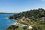 Frankreich, Provence-Alpes-Côte d'Azur, Saint-Tropez: Plage des Graniers unterhalb der Zitadelle | France, Provence-Alpes-Côte d'Azur, Saint-Tropez: Plage des Graniers