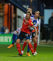 Luton Town's James Collins (centre) is tackled from behind by Blackburn Rovers' Barry Douglas (right) <br /> <br /> Photographer David Horton/CameraSport<br /> <br /> The EFL Sky Bet Championship - Luton Town v Blackburn Rovers - Saturday 21st November 2020 - Kenilworth Road - Luton<br /> <br /> World Copyright © 2020 CameraSport. All rights reserved. 43 Linden Ave. Countesthorpe. Leicester. England. LE8 5PG - Tel: +44 (0) 116 277 4147 - admin@camerasport.com - www.camerasport.com