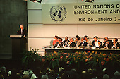 United Nations Conference on Environment and Development, Rio de Janeiro, Brazil, 3rd to 14th June 1992. John Major delivering his speech.
