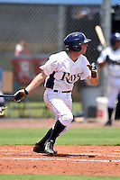 GCL Rays second baseman Matt Ford (1) at bat during a game against the GCL Red Sox on June 24, 2014 at Charlotte Sports Park in Port Charlotte, Florida.  GCL Red Sox defeated the GCL Rays 5-3.  (Mike Janes/Four Seam Images)