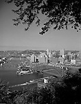 Pittsburgh PA:  View of the City of Pittsburgh from Mt Washington.  View of the Pittsburgh Hilton and Fort Pitt Bridge construction