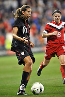 USWNT defender Ali Krieger (11) in action.....USWNT played to a 1-1 tie with Canada at LIVESTRONG Sporting Park, Kansas City, Kansas.