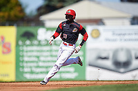 Batavia Muckdogs third baseman Javier Lopez (23) running the bases during a game against the Auburn Doubledays on September 5, 2016 at Dwyer Stadium in Batavia, New York.  Batavia defeated Auburn 4-3. (Mike Janes/Four Seam Images)