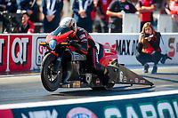 Oct 14, 2019; Concord, NC, USA; NHRA pro stock motorcycle rider Andrew Hines during the Carolina Nationals at zMax Dragway. Mandatory Credit: Mark J. Rebilas-USA TODAY Sports
