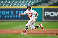Houston Cougars Grayson Padgett (18) takes his lead off of first base against the Kentucky Wildcats in game two of the 2018 Shriners Hospitals for Children College Classic at Minute Maid Park on March 2, 2018 in Houston, Texas.  The Wildcats defeated the Cougars 14-2 in 7 innings.   (Brian Westerholt/Four Seam Images)
