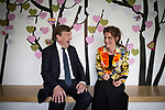 © Joel Goodman - 07973 332324 - all rights reserved . 17/07/2015 . Manchester , UK . JOHN WHITTINGDALE OBE , MP for Maldon and Secretary of State for Culture Media and Sport , talking to ESME WARD (correct) , Head of Learning and Engagement at Whitworth Art Gallery , in front of a wall of visitors' messages during a visit to the newly extended and refurbished Whitworth Art Gallery , in Manchester . The venue has been  nominated for this year's (2015) Riba Stirling Prize for the UK's best new building . Photo credit: Joel Goodman