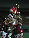 Lock Jack Jones wins the line out ball for Wales..Under 20 Six Nations.Wales v Ireland.Eirias - Colwyn Bay.01.02.13.©Steve Pope