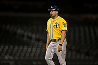 AZL Athletics manager Eddie Menchaca (14) during an Arizona League game against the AZL Cubs 1 at Sloan Park on June 28, 2018 in Mesa, Arizona. The AZL Athletics defeated the AZL Cubs 1 5-4. (Zachary Lucy/Four Seam Images)