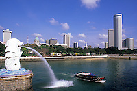 Famous Lion Fountain in Singapore Harbour symbol of city and countr