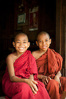 Young, novice monks in the ancient city of Ava, in Myanmar