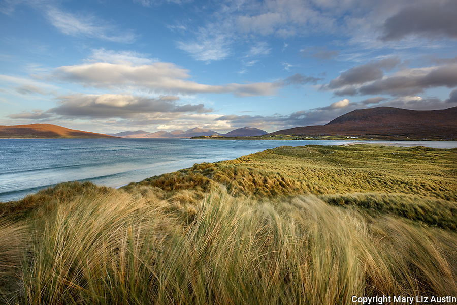 Isle of Lewis and Harris, Scotland: Dune grasses and turqoise waters of Luskentyre beach on South Harris Island