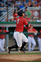 Batavia Muckdogs Andrew Turner (9) bats during a NY-Penn League game against the State College Spikes on July 3, 2019 at Dwyer Stadium in Batavia, New York.  State College defeated Batavia 6-4.  (Mike Janes/Four Seam Images)