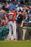 Lehigh Valley IronPigs manager Dave Brundage (45) argues a call with first base umpire Max Guyll during a game against the Rochester Red Wings on July 4, 2015 at Frontier Field in Rochester, New York.  Lehigh Valley defeated Rochester 4-3.  (Mike Janes/Four Seam Images)