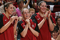 STANFORD, CA - NOVEMBER 14:  Ashley Cimino, Hannah Donaghe, and Sarah Boothe of the Stanford Cardinal during Stanford's 68-55 win over the Minnesota Golden Gophers on November 14, 2008 in Stanford, California.
