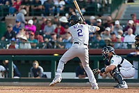 Salt River Rafters first baseman Tyler Nevin (2), of the Colorado Rockies organization, at bat in front of catcher Joe DeCarlo (4) during the Arizona Fall League Championship Game against the Peoria Javelinas at Scottsdale Stadium on November 17, 2018 in Scottsdale, Arizona. Peoria defeated Salt River 3-2 in 10 innings. (Zachary Lucy/Four Seam Images)