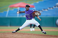 Pitcher Aaron Calhoun (5) of Clearbrook HS in Pearland, TX playing for the Colorado Rockies scout team during the East Coast Pro Showcase at the Hoover Met Complex on August 2, 2020 in Hoover, AL. (Brian Westerholt/Four Seam Images)