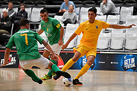 Rahan Ali of Southern and Adam Cowan of Central during the Men's Futsal SuperLeague, Central Futsal v Southern United Futsal at ASB Sports Centre, Wellington on Saturday 31 October 2020.<br /> Copyright photo: Masanori Udagawa /  www.photosport.nz