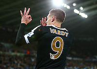 Jamie Vardy of Leicester City gestures the score to Swansea fans as they mock him for a miss during the Barclays Premier League match between Swansea City and Leicester City played at The Liberty Stadium on 5th December 2015