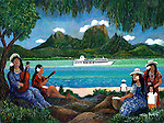 """""""Ia Orana, Paul Gauguin""""<br /> Limited Edition Giclee 16x20 <br /> NEW RELEASE SPECIAL OFFER-ONLY AVAILABLE ON THE M/S PAUL GAUGUIN OR HERE EXCLUSIVELY!<br /> SN Canvas $250. <br /> AP Paper $750.<br /> W/Original watercolor Remarque $1,150.<br /> This classic Polynesian painting is available as a limited edition print as tribute to the m/s Paul Gauguin, which sails the seven shades of blue in the French Polynesian Islands. Guy has treasured his time on board and invites guests to join him on his many cruises. Check the Events link for his sailing calendar."""