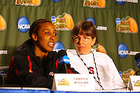 7 April 2008: Stanford Cardinal Candice Wiggins (left) and head coach Tara VanDerveer (right) during Stanford's press conference for the 2008 NCAA Division I Women's Basketball Final Four championship game at the St. Pete Times Forum Arena in Tampa Bay, FL.