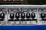Hertha Berlin 1 Sporting Lisbon 0, 16/12/2010. Olympic Stadium, Europa League. The row of seats for substitutes are adorned with appropriate UEFA branding as Hertha Berlin take on Sporting Lisbon in the Olympic Stadium in Berlin in a UEFA Europa League group match. Hertha won the match by 1 goal to nil to press to the knock-out round of the cup. 2009/10 was the the first year in which the Europa League replaced the UEFA Cup in European football competition. Photo by Colin McPherson.