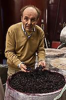 Europe/France/Aquitaine/24/Dordogne/Périgord Pourpre/ Creysse:  François de Saint Exupéry - Proprétaire et viticulteur - Château de Tiregand AOP Pécharmant dans son chai  pendant la vinification