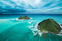 An aerial view of Na Mokulua (Mokulua islets) near Lanikai, a neighborhood along the Windward coast of O'ahu.