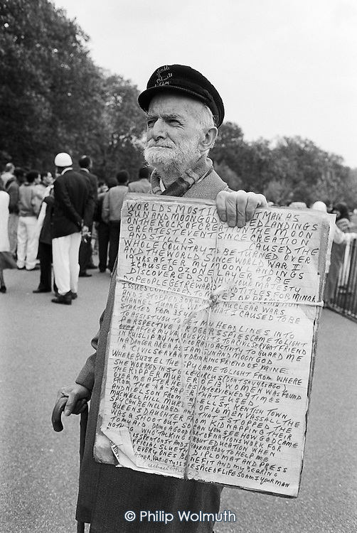 Conspiracy theorist.  Speakers' Corner, Hyde Park, London.
