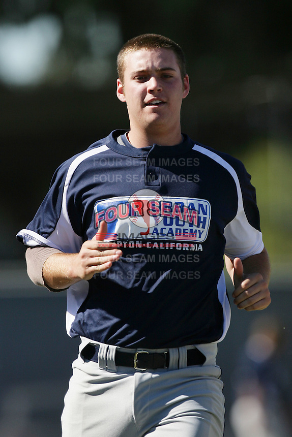 Kyle Raubinger at the Major League Scouting Bureau pre draft workout for high school seniors at the Urban Youth Academy in Compton,California on February 12, 2011. Photo by Larry Goren/Four Seam Images