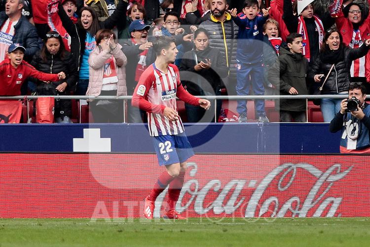 Atletico de Madrid's Alvaro Morata celebrates a VAR anulated goal during La Liga match between Atletico de Madrid and Real Madrid at Wanda Metropolitano Stadium in Madrid, Spain. February 09, 2019. (ALTERPHOTOS/A. Perez Meca)