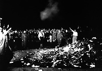 Thousands of books smoulder in a huge bonfire as Germans give the Nazi salute during the wave of book-burnings that spread throughout Germany.  1933.  INP.  (OWI)<br /> Exact Date Shot Unknown<br /> NARA FILE #:  208-N-39840<br /> WAR & CONFLICT BOOK #:  986